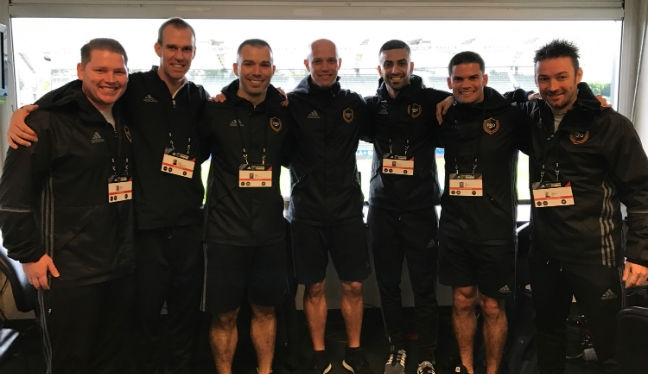 PRO officials at the MLS Combine, including Rubiel Vazquez (one in from right-hand side)
