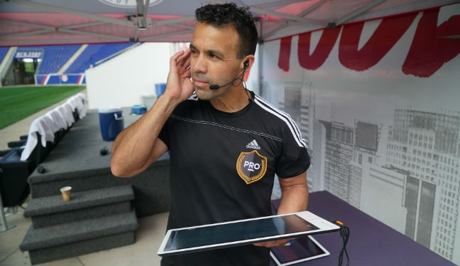 PRO referee Hilario Grajeda using the video assistant referee system