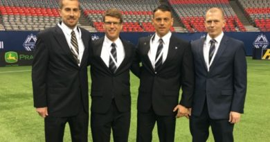 Adam Wienckowski, Dave Gantar, Sorin Stoica and Jason White ahead of his season opener in Vancouver