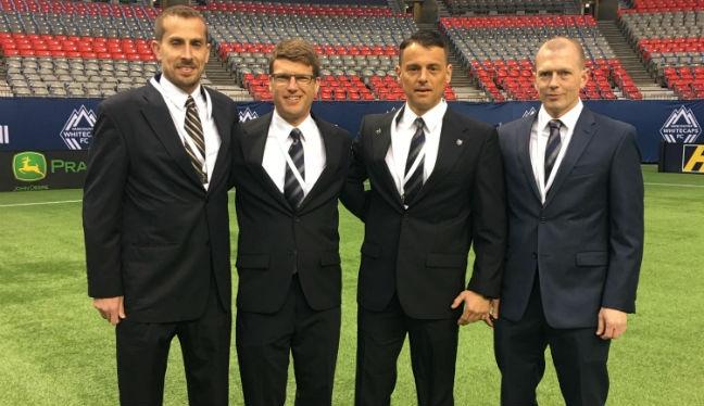 Adam Wienckowski, Dave Gantar, Sorin Stoica and Jason White ahead of his season opener in Vancouver