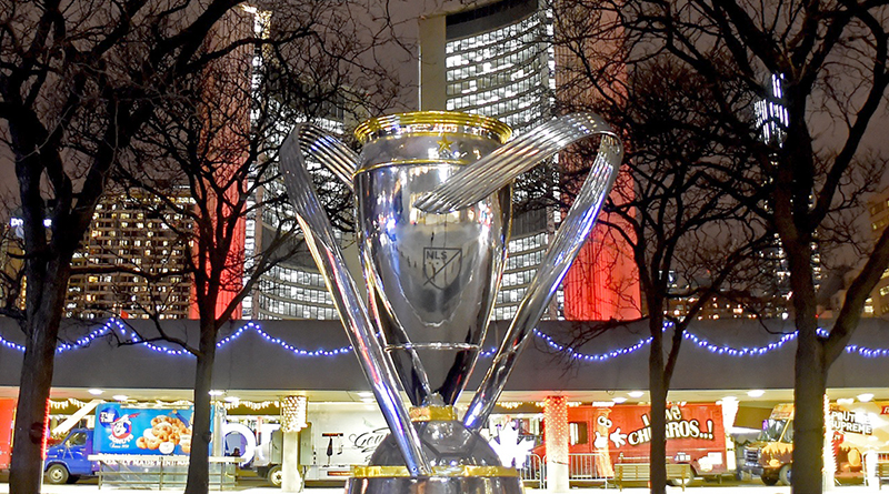 An oversized replica of the MLS Cup trophy sits in front of Toronto City Hall. Photo: Dan Hamilton-USA TODAY
