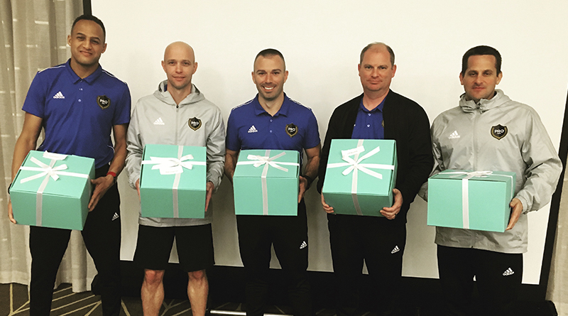 Ismail Elfath, Allen Chapman, Chris Penso, Jeff Muschik and Mike Rottersman all received gifts to mark their 100th MLS regular season game.