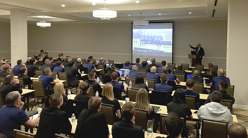 Howard Webb addresses attendees at 2018 preseason camp