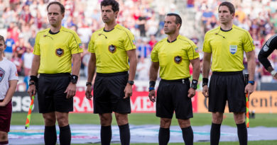 Brian Poeschel, Fotis Bazakos, Hilario Grajeda and Corey Parker stand before the match between the Colorado Rapids and the Seattle Sounders at Dick's Sporting Goods Park.