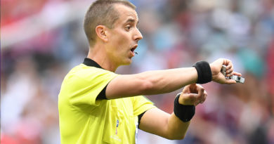 Mark Geiger officiating at the 2018 World Cup.