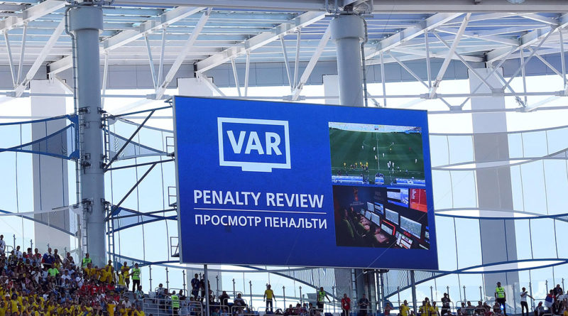A penalty decision undergoes Video Review at the 2018 FIFA World Cup.