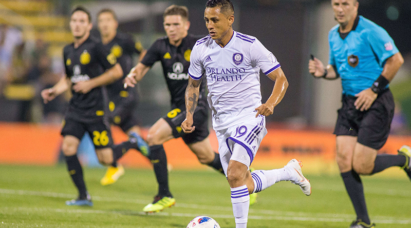 Orlando City defender Yoshimar Yotun dribbles the ball during the second half against the Columbus Crew SC at MAPFRE Stadium.