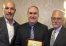 Greg Barkey, recipient of the New Jersey Soccer Association's 2018 Hall of Fame Award flanked by Howard Webb, PRO's General Manager, and Alan Brown, PRO's Assignment Coordinator and past award recipient.