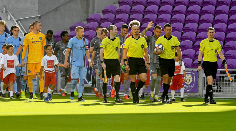 The PRO crew take to the field for a preseason game between Orlando City and NYCFC.