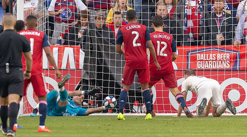 FC Dallas goalkeeper Jesse Gonzalez (1) appears to make the save on a deflection from Colorado Rapids defender Tommy Smith (5) but is overturned by Video Review during the second half at Toyota Park.