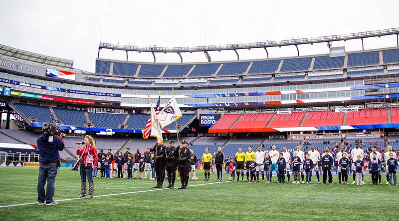 New England Revolution players stand prior their game against the FC Cincinnati at Gillette Stadium.