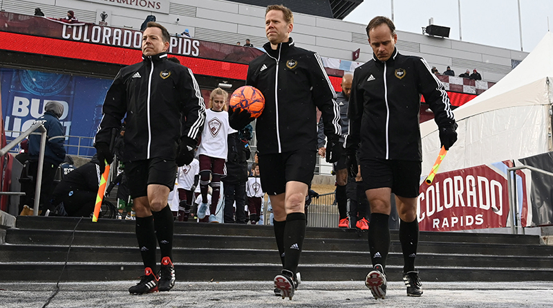 General view as the PRO referee crew enters the pitch before the game between the Portland Timbers against the Colorado Rapids at Dick's Sporting Goods Park. Mandatory Credit: Ron Chenoy-USA TODAY Sports