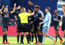 Philadelphia Union players react to a call in the first half against Sporting Kansas City at Children's Mercy Park.