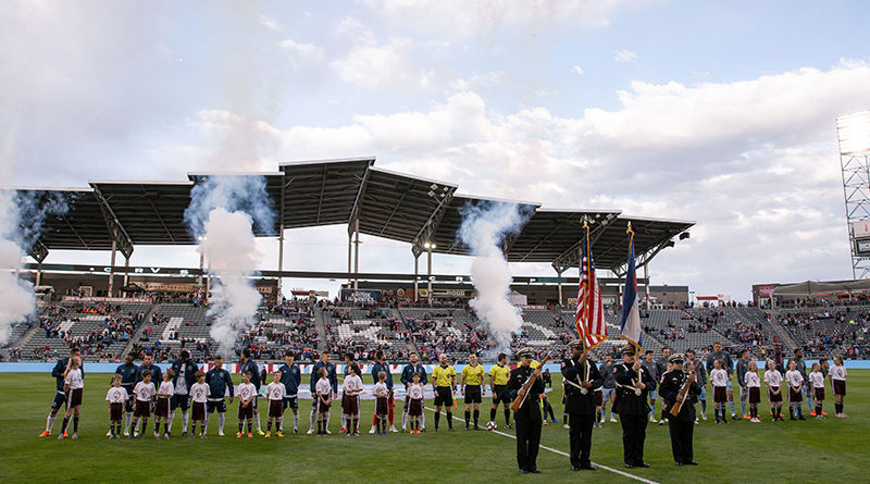 Colorado Rapids and Vancouver Whitecaps FC players lineup before the match at Dick's Sporting Goods Park.