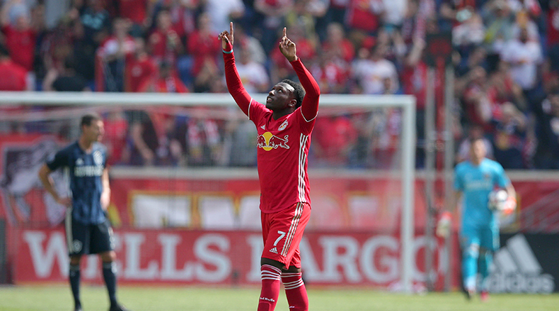 New York Red Bulls forward Derrick Etienne Jr. celebrates his goal against LA Galaxy during the second half at Red Bull Arena.