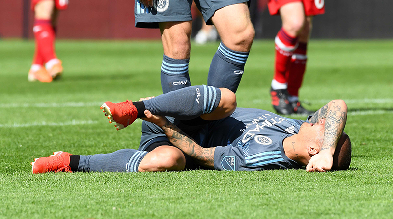 New York City midfielder Alexandru Mitrita reacts after being fouled against Chicago Fire during the second half at SeatGeek Stadium.