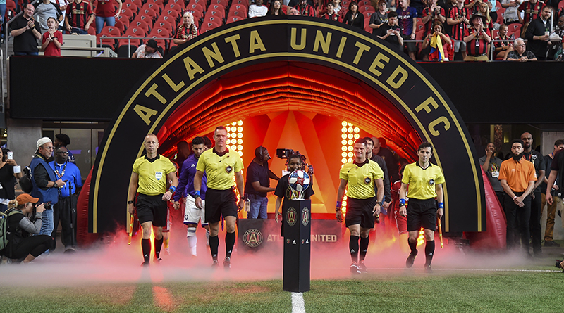 The PRO crew take to the field for the game between the Atlanta United and Orlando City at Mercedes-Benz Stadium.