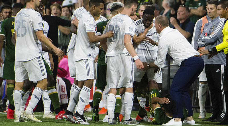 Los Angeles FC forward Adama Diomande and Portland Timbers defender Julio Cascante, and their teammates get into a scuffle during the second half at Providence Park. Los Angeles FC beat the Portland Timbers 3-2.