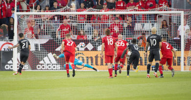 Sporting Kansas City midfielder Felipe Gutierrez (21) scores a goal against the Toronto FC on a penalty kick during the second half at BMO Field.