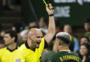 Portland Timbers forward Brian Fernandez receives a yellow card during the second half against Los Angeles FC at Providence Park.