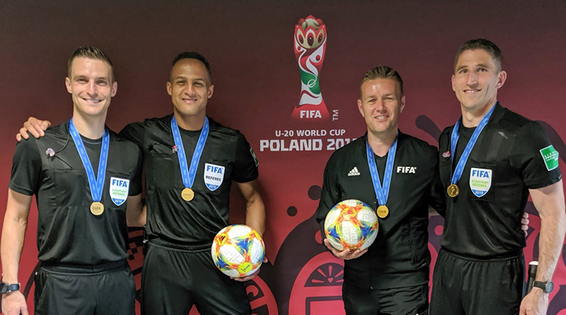 Kyle Atkins, Ismail Elfath, Alan Kelly and Corey Parker after the FIFA U-20 World Cup Final in Poland.