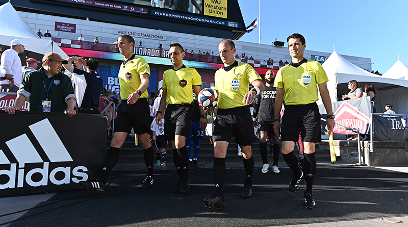 Members of the PRO referee crew head to the pitch before the match between FC Cincinnati against the Colorado Rapids at Dick's Sporting Goods Park.