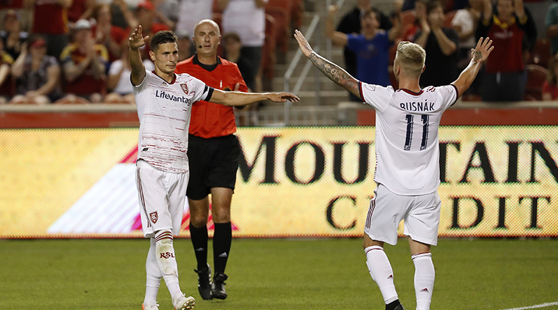 Real Salt Lake midfielder Damir Kreilach (8) and midfielder Albert Rusnak (11) celebrate a second half goal against the Philadelphia Union at Rio Tinto Stadium.