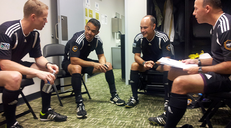 2013 MLS All-Star crew: Drew Fischer, Chico Grajeda, Paul Scott and Bill Dittmar in the locker room pregame.