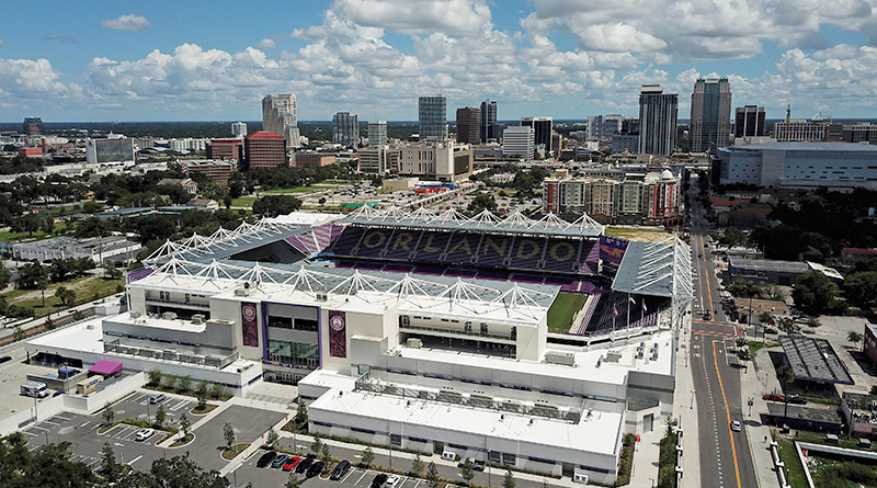 An aerial view of Exploria Stadium, home of Orlando City.