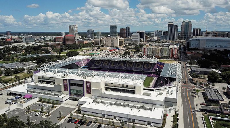 An aerial view of Exploria Stadium, home of Orlando City.