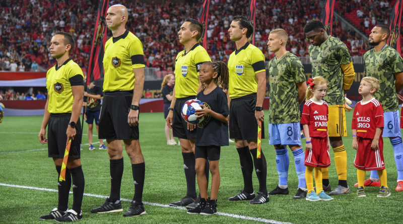 PRO officials Jose Da Silva, Sergii Demianchuk, Jair Marrufo, and Ian Anderson before Atlanta United's game with New York City FC.