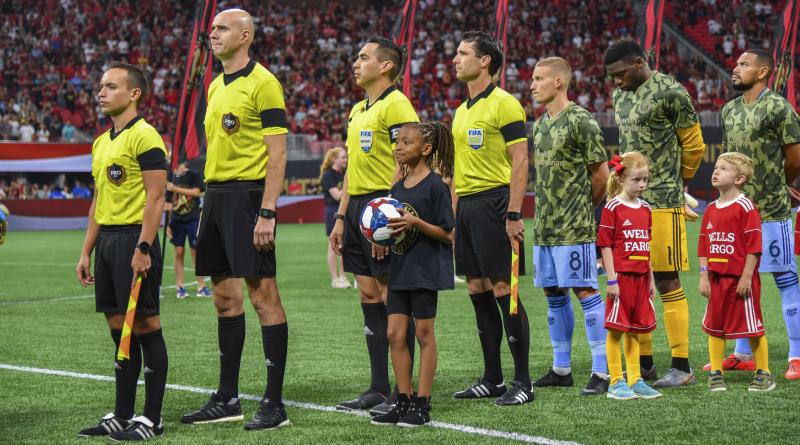 PRO officials Jose Da Silva, Sergii Demianchuk, Jair Marrufo, and Ian Anderson before Atlanta United's game with New York City FC.