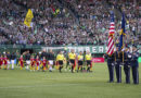 Atlanta United and the Portland Timbers take the field before a game at Providence Park.