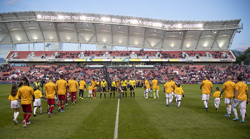 A general view of Real Salt Lake and San Jose Earthquakes during the pre-game ceremony at Rio Tinto Stadium.