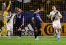 Los Angeles FC Galaxy midfielder Uriel Antuna (18) celebrates after a goal by forward Zlatan Ibrahimovic (9) against Montreal Impact in the first half.