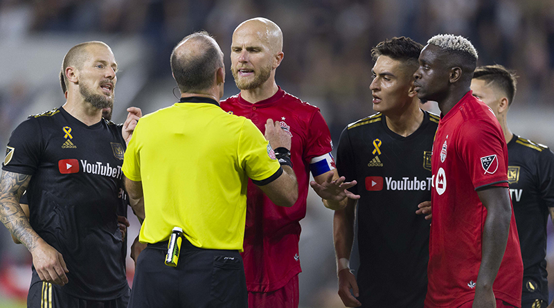 Toronto FC midfielder Michael Bradley (4) argues a call during the second half against Los Angeles FC at Banc of California Stadium.
