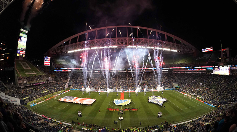 General view of fireworks during the playing of the national anthem at the MLS Cub Conference Semifinal between the Real Salt Lake and the Seattle Sounders at CenturyLink Field.