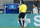 Referee Baldomero Toledo checks the video review during the second half between the San Jose Earthquakes and the Philadelphia Union at Avaya Stadium.