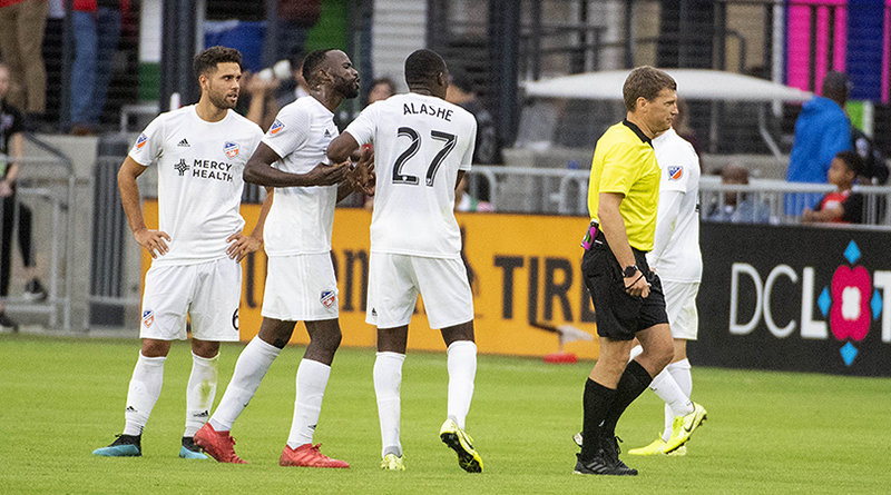 FC Cincinnati forward Roland Lamah (7) argues after receiving a red card against the D.C. United during the first half at Audi Field.
