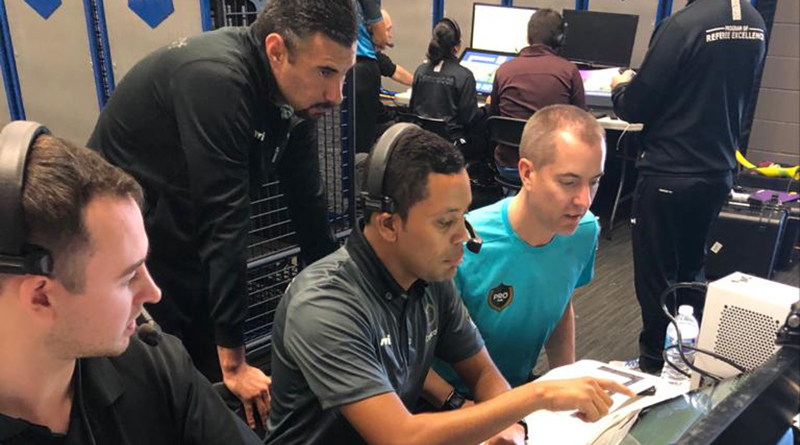 Mark Geiger training Concacaf officials.