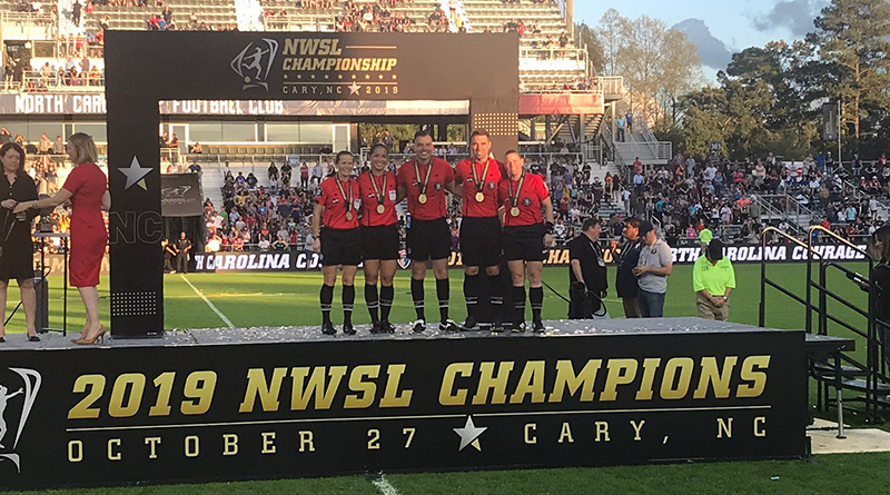 The 2019 NWSL Championship Final crew are presented with their commemorative medals.