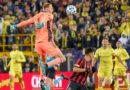 Nashville SC goalkeeper Joe Willis (1) blocks the kick of Atlanta United midfielder Ezequiel Barco (8) at Nissan Stadium.