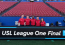 Ian McKay (AR1), JC Griggs (4th), Jon Freemon (Ref), Benjamin Hall-Volpenhein (AR2) and Jennifer Garner (RAR) before the USL League One Final.