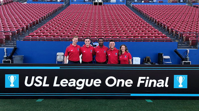 Ian McKay (AR1), JC Griggs (4th), Jon Freemon (Ref), Benjamin Hall-Volpenhein (AR2) and Jennifer Garner (RAR) before the USL League One Final.