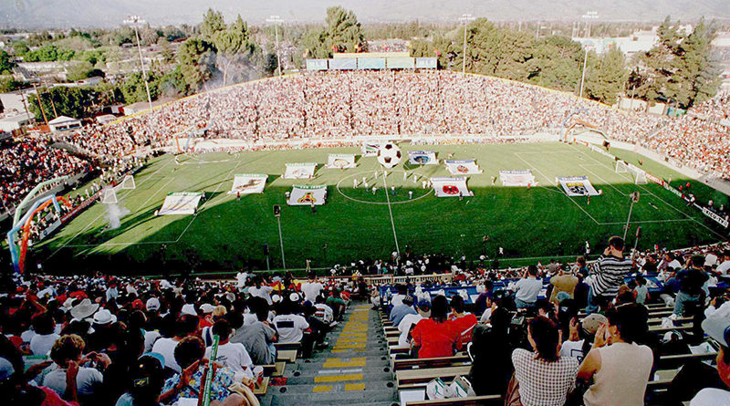 An aerial view of Spartan Stadium during the opening ceremonies of Major League Soccer''s (MLS) inaugural match that pitted Washington D.C. United against the San Jose Clash at Spartan Stadium in San Jose, California. Photo: John Todd.