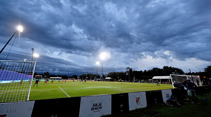 A general view as inclement weather approaches prior to the match between the Toronto FC and the New York City FC at ESPN Wide World of Sports Complex.