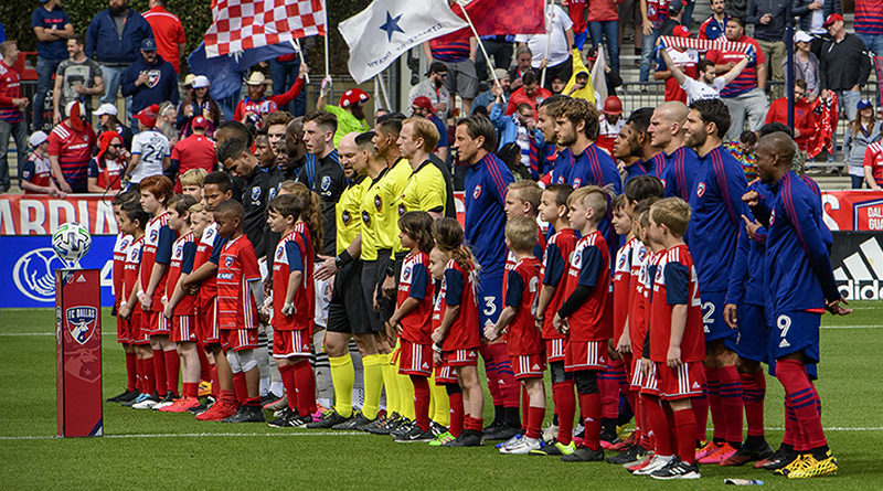 A view of the team lineups and field escorts before the game between FC Dallas and the Montreal Impact at Toyota Stadium.
