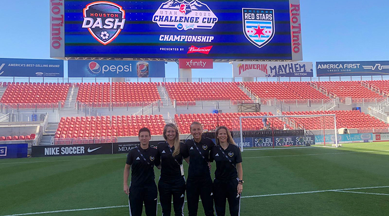 NWSL Challenge Cup Final crew: Tiffini Turpin (AR2), Tori Penso (4TH), Katja Koroleva (REF) and Jennifer Garner (AR1).