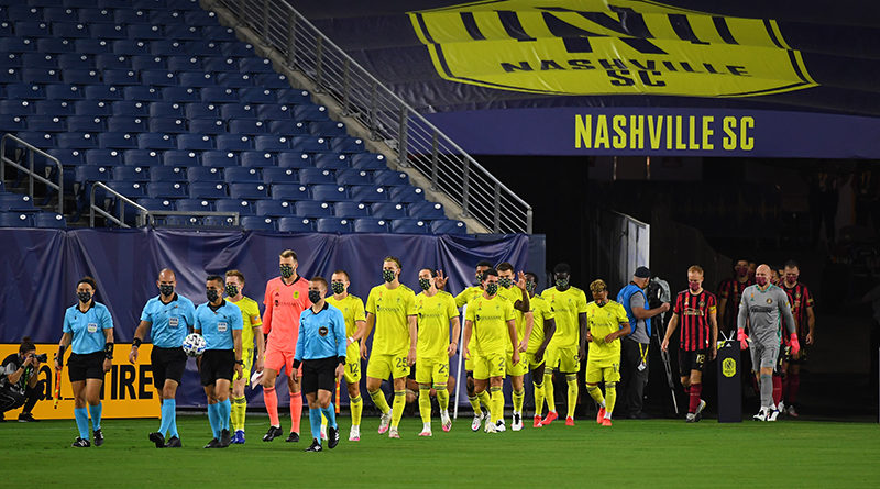 Nashville SC and Atlanta United take the pitch before the match at Nissan Stadium.