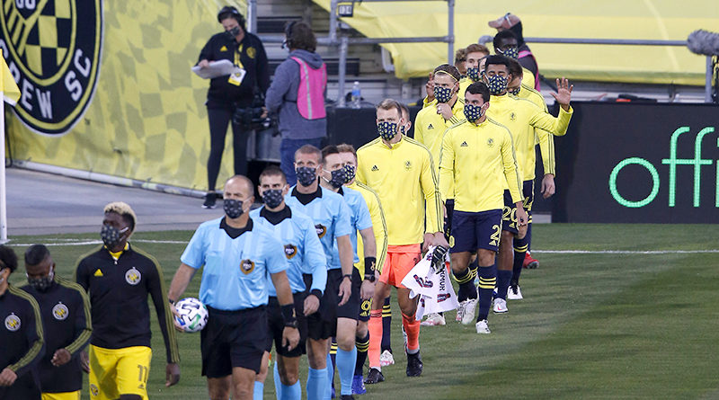 Columbus Crew SC and Nashville SC take the field before the game at MAPFRE Stadium.